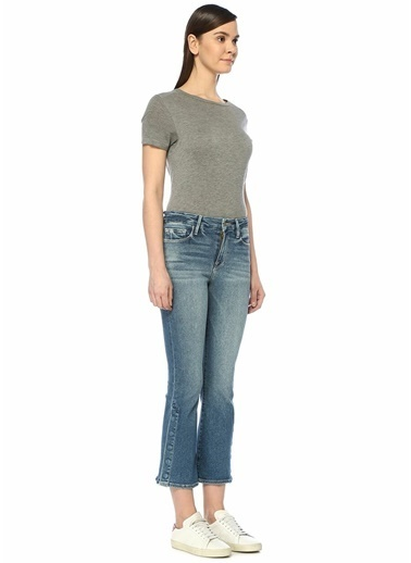 Frame Denim Normal Bel Cropped Bootcut Yırtmaçlı Jean Pantolon Mavi